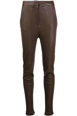 Balmain High-waisted leather skinny trousers