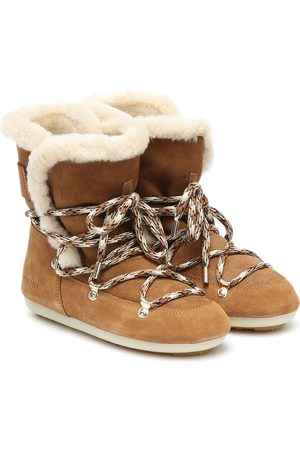 Moon Boot Dark Side shearling and suede boots