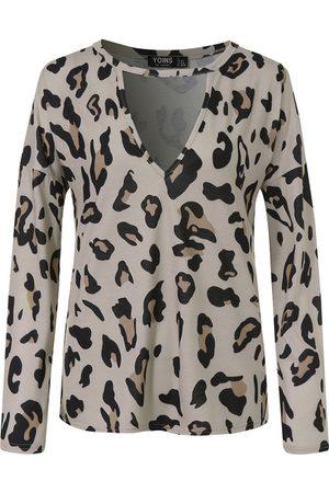 YOINS Brown Leopard V-neck Long Sleeves Tee