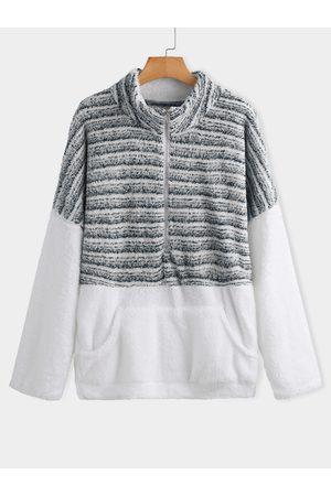 YOINS Patchwork Zip Front Stand Collar Long Sleeves Sweatshirt