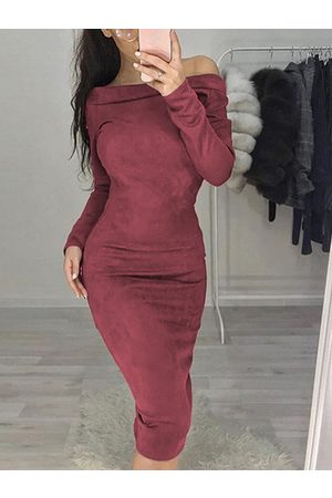 YOINS Suede Off The Shoulder Long Sleeves Dress