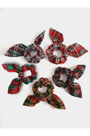 YOINS Christmas Plaid Bowknot Elastic Hair Ring