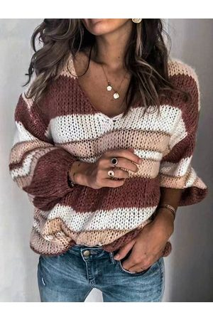 YOINS Color Block Striped V-neck Sweater