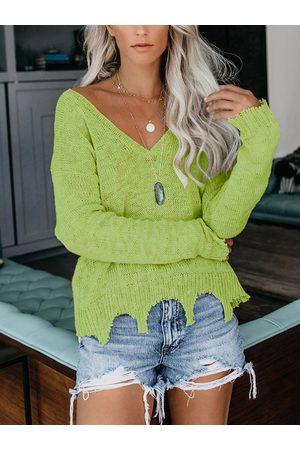 YOINS Women Long Sleeve - Ripped Design V-neck Long Sleeves Knit Top