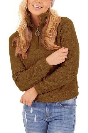 YOINS Zip Front High Neck Teddy Sweatershirt
