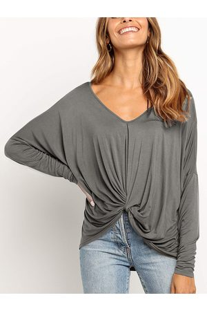 YOINS Women Long Sleeve - Casual Twisted Design V-neck Long Sleeves Tee
