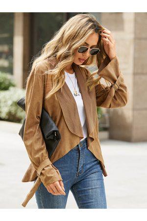 YOINS Suede Square Cufflinks Lapel Collar Long Sleeves Jacket