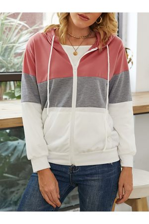 YOINS Patchwork Hooded Design Pullover Long Sleeves Coat