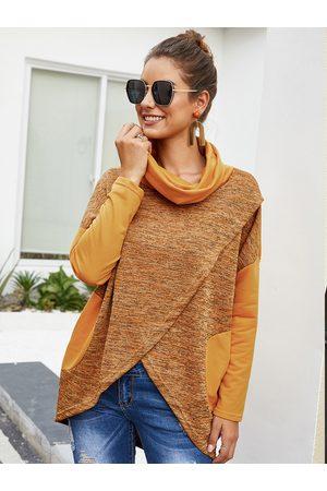 YOINS Side Pockets Color Block Turtleneck Knit Top