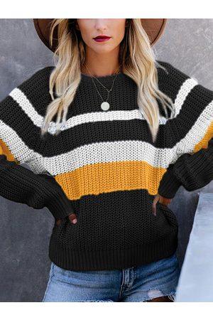 YOINS Color Block Stripe Round Neck Sweater