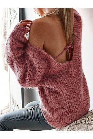 YOINS Women Long Sleeve - V-neck Tie-up Design Long Sleeves Sweater