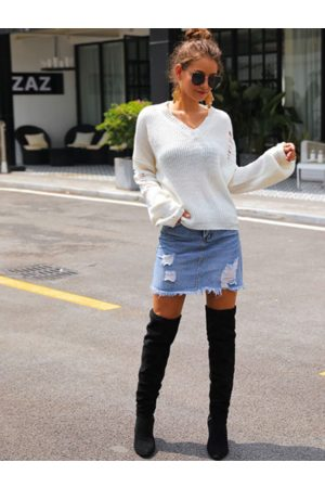 YOINS Women Long Sleeve - Random Ripped V-neck Long Sleeves Sweater