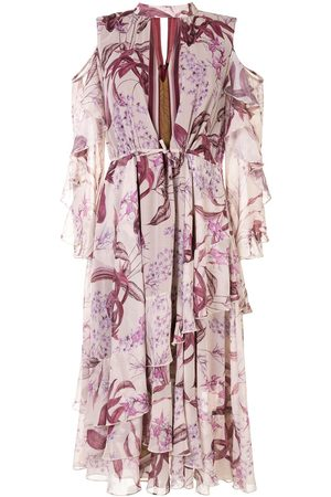 Marchesa Notte Cold shoulder ruffle printed dress