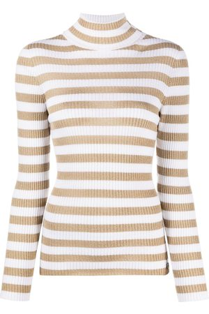 Twin-Set Turtleneck metallic-stripe jumper