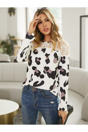 YOINS White Lace Leopard Patchwork Round Neck Long Sleeves Tee
