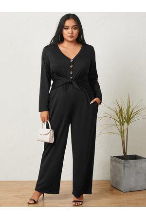 YOINS Women Long Sleeve - Plus Size V-neck Side Pockets Tie-up Design Long Sleeves Jumpsuit