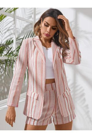 YOINS Pink Striped Lapel Collar Long Sleeves Two Piece Outfit