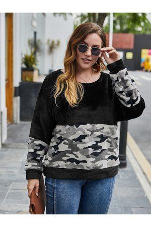 YOINS Plus Size Crew Neck Camo Long Sleeves Sweatshirt