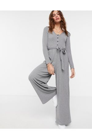 ASOS Lounge rib long sleeve belted jumpsuit in grey