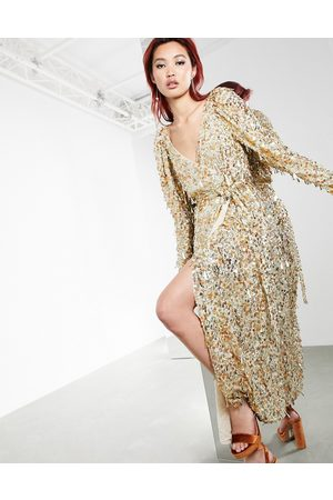 ASOS Disc and teardrop sequin wrap midi dress in