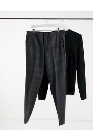 Shelby & Sons Slim fit suit trousers in charcoal stripe
