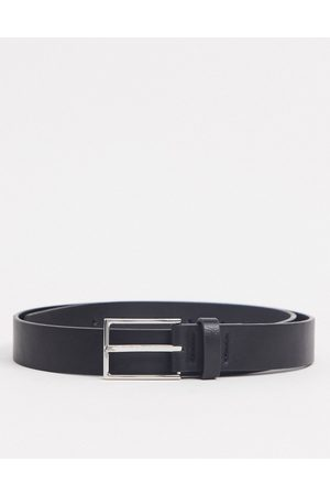 ASOS Slim belt in black faux leather with silver buckle