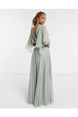ASOS Women Maxi Dresses - Bridesmaid ruched bodice drape maxi dress with wrap waist and flutter cape sleeve