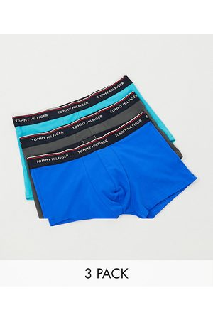 Tommy Hilfiger 3 pack trunks in blue/grey/turquoise with logo waistband-Multi