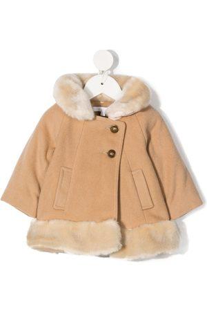 Chloé Faux fur-trim knitted coat