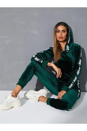 YOINS Women Long Sleeve - Green Letter Hooded Design Long sleeves Tracksuit