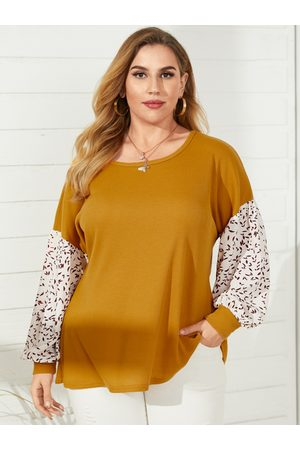 YOINS Plus Size Round Neck Patchwork Waffle Knit Long Sleeves Knitwear