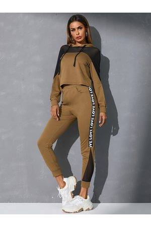YOINS Brown Mesh Patchwork Letter Long Sleeves Tracksuit