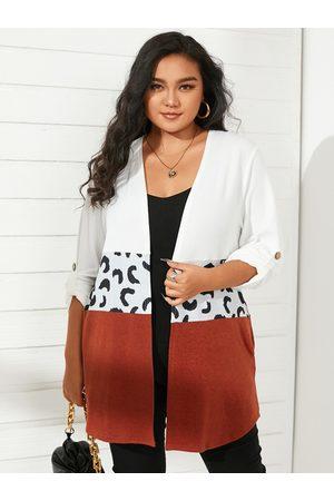 YOINS Plus Size Color Block Pocket Design Long Sleeves Cardigan