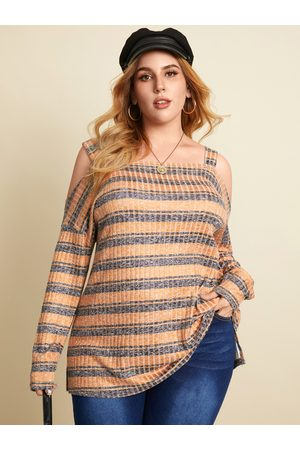 YOINS Plus Size Cold Shoulder Striped Long Sleeves Knitwear