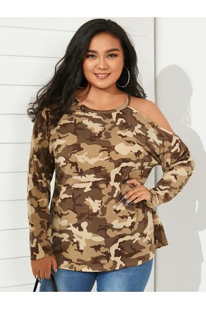 YOINS Plus Size One Shoulder Camo Long Sleeves Tee