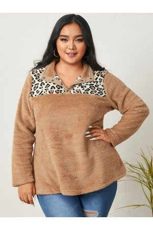 YOINS Plus Size Lapel Collar Patchwork Leopard Long Sleeves Sweatshirt