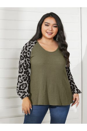 YOINS Plus Size Scoop Neck Patchwork Leopard Long Sleeves Sweater