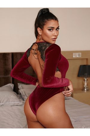 YOINS Burgundy Lace Insert Round Neck Long Sleeves Bodysuit