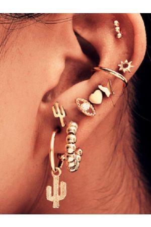 YOINS 9pc Gold Rhinestone Decor Earring Set