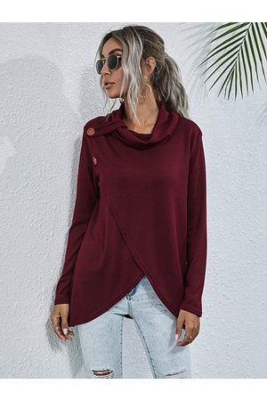 YOINS Crossed Front Design Chimney Collar Long Sleeves Knit Top