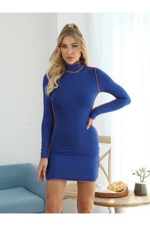 YOINS Casual High neck Bodycon Hem Mini Dress