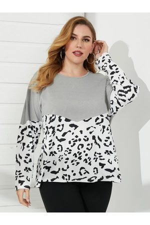 YOINS Plus Size Crew Neck Patchwork Leopard Long Sleeves Sweater
