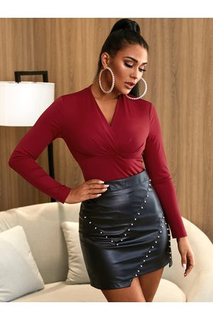 YOINS Pleated V-neck Long Sleeves Blouse
