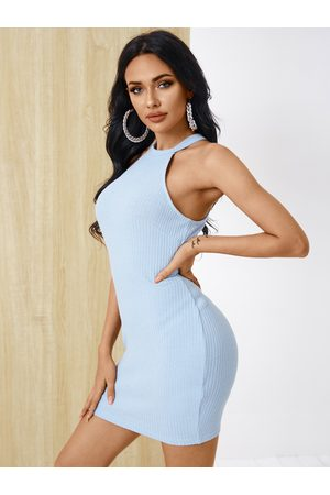 YOINS Sexy Halter Knit Sleeveless Bodycon Dress