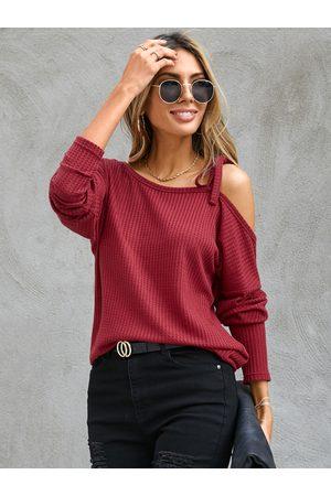 YOINS Tie-up Design One Shoulder Long Sleeves Knit Top