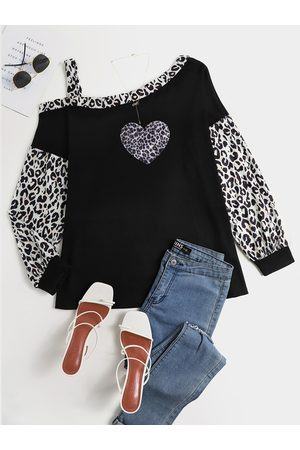 YOINS Heart Leopard Patchwork One Shoulder Long Sleeves Tee