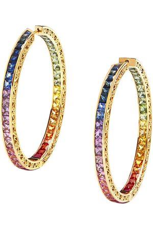 Dolce & Gabbana 18kt yellow diamond sapphire rainbow hoops