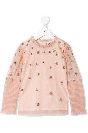 Velveteen Alexa glitter-embellished ruffled blouse