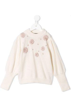Velveteen Stella floral-embroidered knit jumper