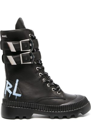 Karl Lagerfeld Buckle-and-lace ankle boots